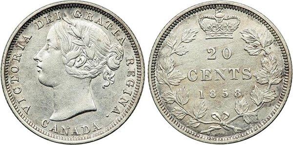 20 центов 1858 г.