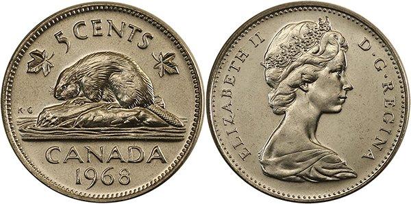 5 центов 1968 г.