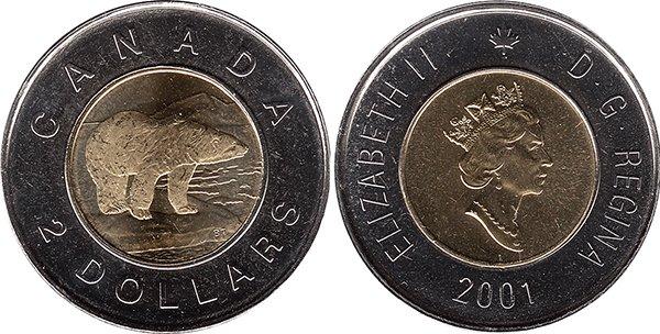 2 доллара 2001 г.