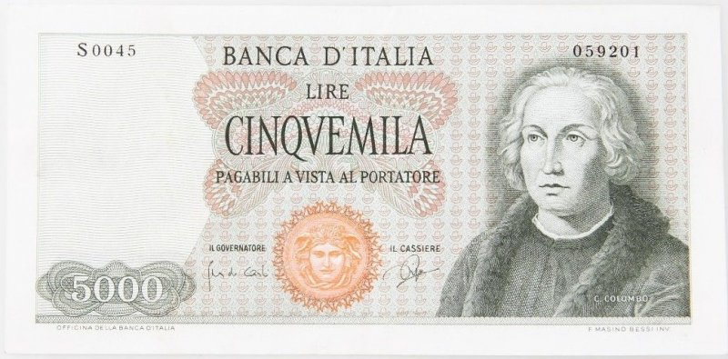 Аверс 5000 лир Италии