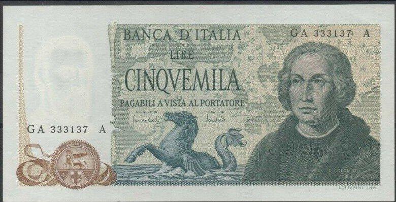 Аверс 5000 лир Италии 1971 года
