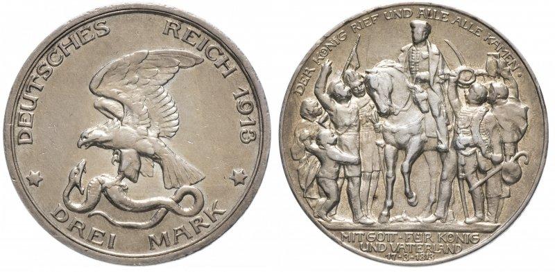 Три марки «100 лет победы над Наполеоном» (1913)