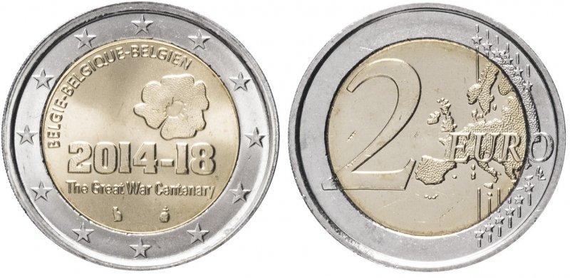 """""""100 лет начала Первой мировой войны"""". 2014 год. Монетный двор: Брюссель (Бельгия)"""