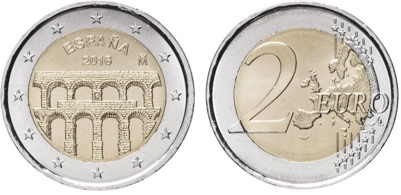 """""""Акведук в городе Сеговия"""". 2016 год. Монетный двор: Мадрид"""