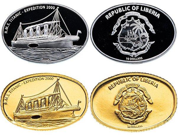 10 и 25 долларов «Экспедиция к «Титанику» 2000 года», 2005 год