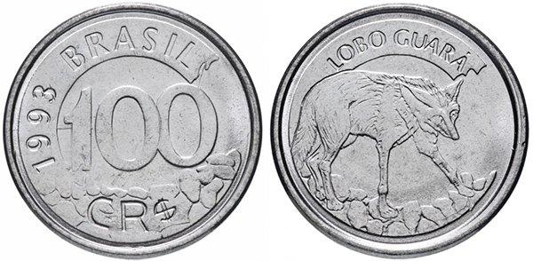 100 крузейро реал 1993 г.
