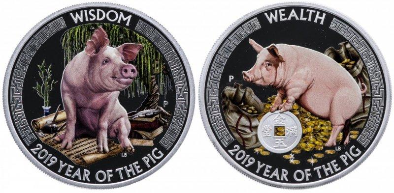 Серебряные монеты о. Тувалу из серии «Мудрость и богатство»