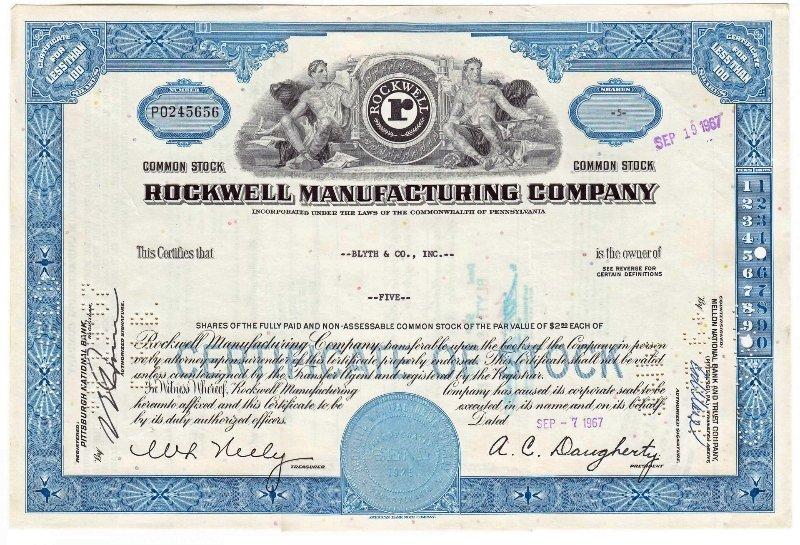 Сертификат на 5 акций компании Rockwell Manufacturing Company, 1958-1967 гг.
