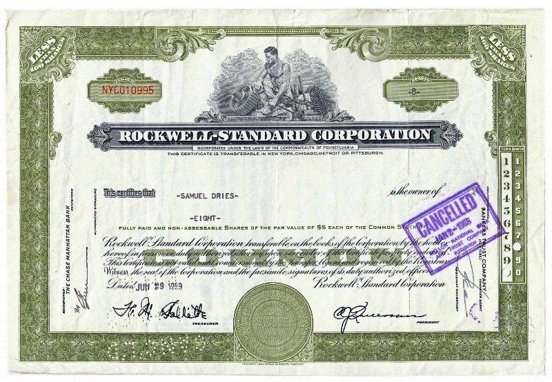 Сертификат на 8 акций компании Rockwell Standart Corporation, 1959-1964 гг.