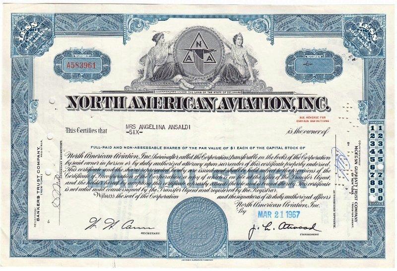 Сертификат на 6 акций компании North American Aviation, Inc. 1956-1967 гг.
