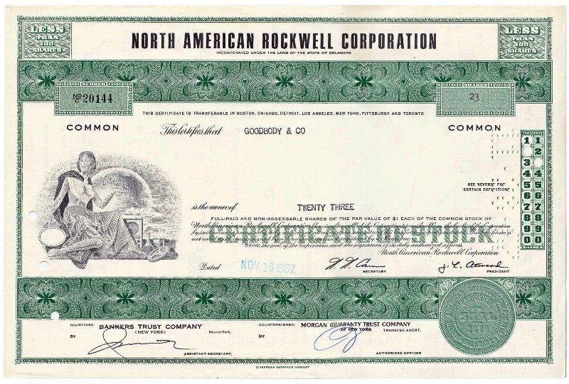 Сертификат на 23 акции компании North American Rockwell Corporation, 1967 год