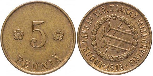 Финляндия, 5 пенни 1918 год «Трубы». Материал — медь, вес — 2,5 г, диаметр — 17,9 см