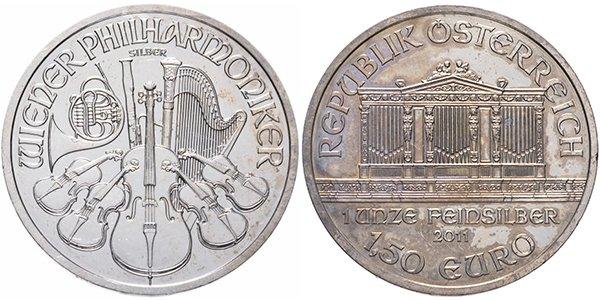 Австрия, 1,5 доллара 2011 года «Венская филармония». Материал — серебро 999, вес — 31,1 г, диаметр — 37 мм