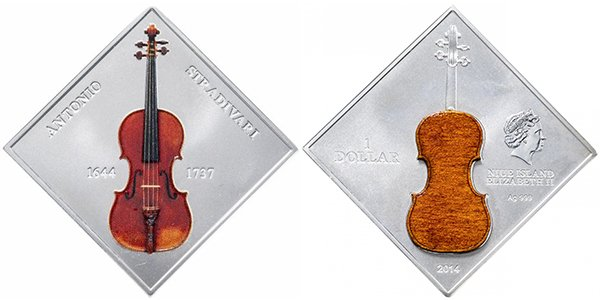 Остров Ниуэ 1 доллар 2014 «Скрипка Антонио Страдивари». Материал — серебро 999, вес — 31,1 г, диаметр — 40 мм