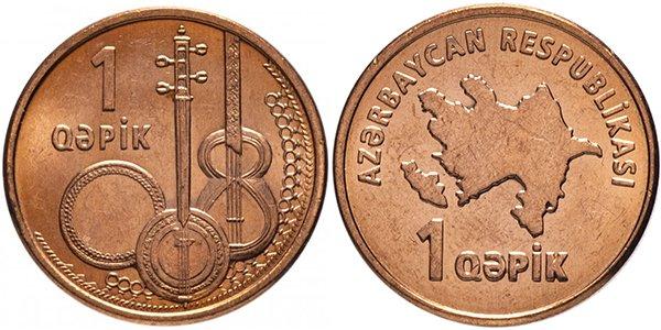 Азербайджан, 1 гяпик 2006 год. Материал — сталь с медным покрытием, вес — 2,73 г, диаметр — 16,2 мм