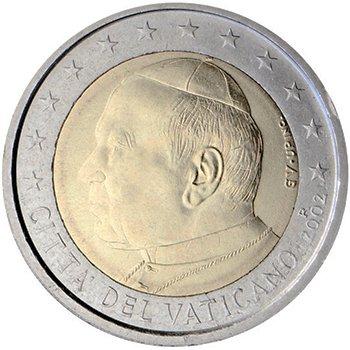 2 евро. Первая серия (2002 – 2005). Папа Иоанн Павел II. 12 звезд. «CITTÀ DEL VATICANO» (Ватикан). 2002 г. Знак монетного двора «R»