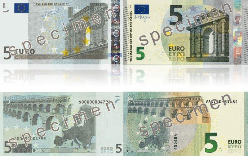 5 евро. Серия 2002 г. (слева) и 2013 г. (справа)