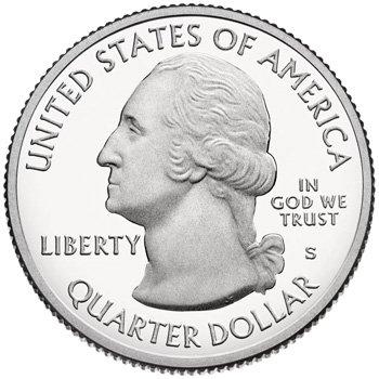 Аверс монеты 25 центов США