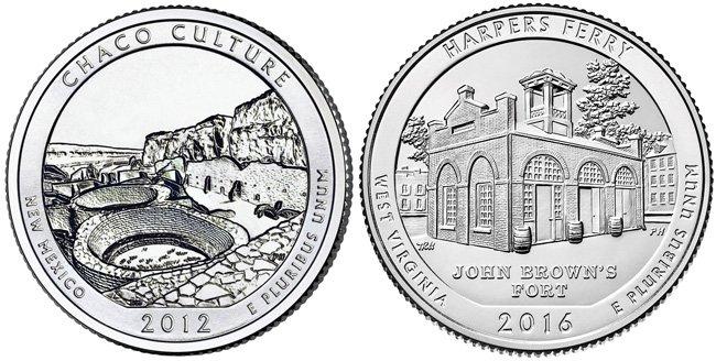 Монеты с самым маленьким (слева) и самым большим (справа) тиражом
