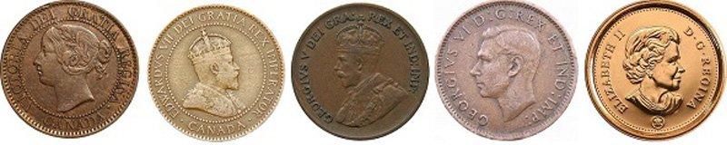 Портреты британских монархов на монетах Канады номиналом 1 цент. Слева направо: королева Виктория (1837-1901 гг.), король Эдуард VII (1901-1910 гг.), король Георг V (1910-1936 гг.), король Георг VI (1937-1952 гг.), королева Елизавета II (с 1952 года по настоящее время)