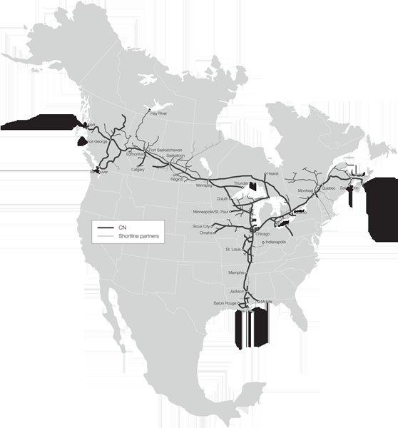 Схема железнодорожной сети CN