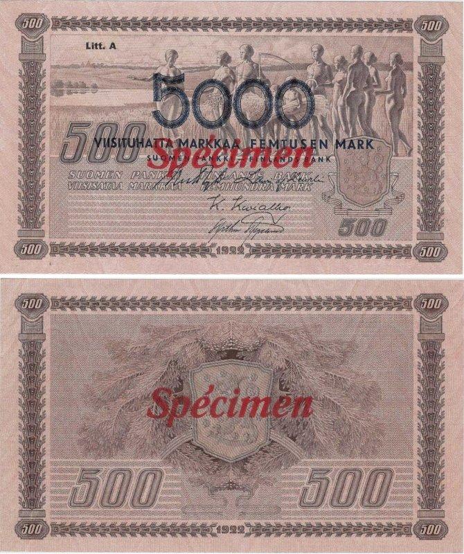 """Надпечатка """"5000"""" на банкноте 500 марок"""