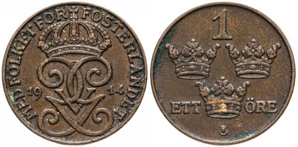 Монета 1 эре, Швеция, 1914 год