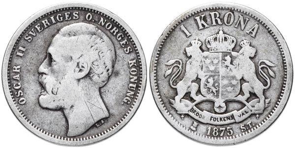 Серебряная монета 1 крона, Швеция, 1875 год
