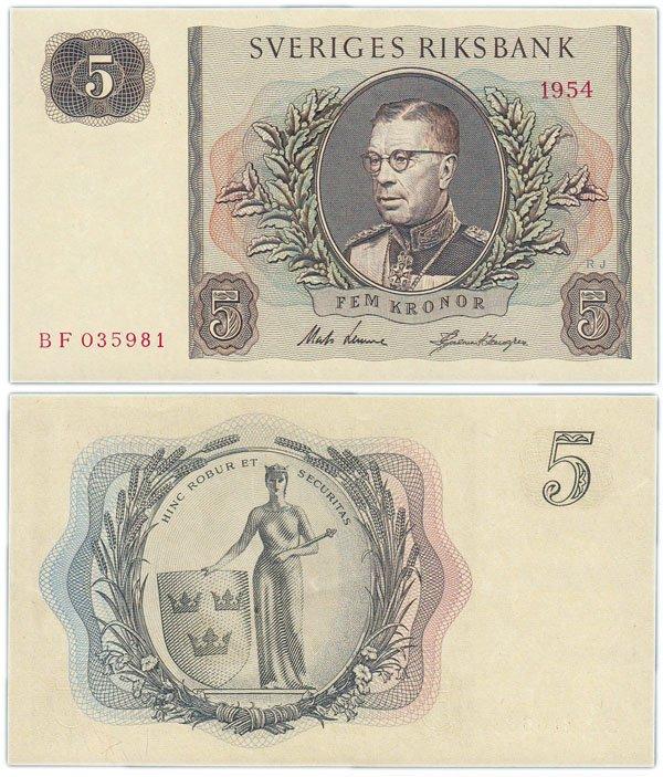 Банкнота 5 крон, Швеция, 1954 год