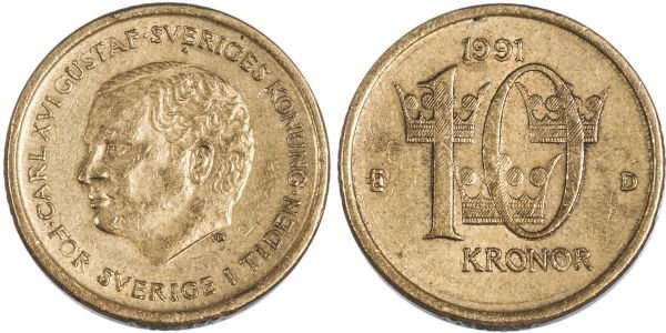 Монета 10 крон, Швеция, 1991 год