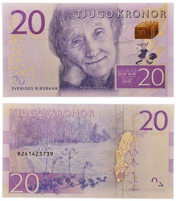 Банкнота 20 крон с Астрид Линдгрен, Швеция, 2015 год