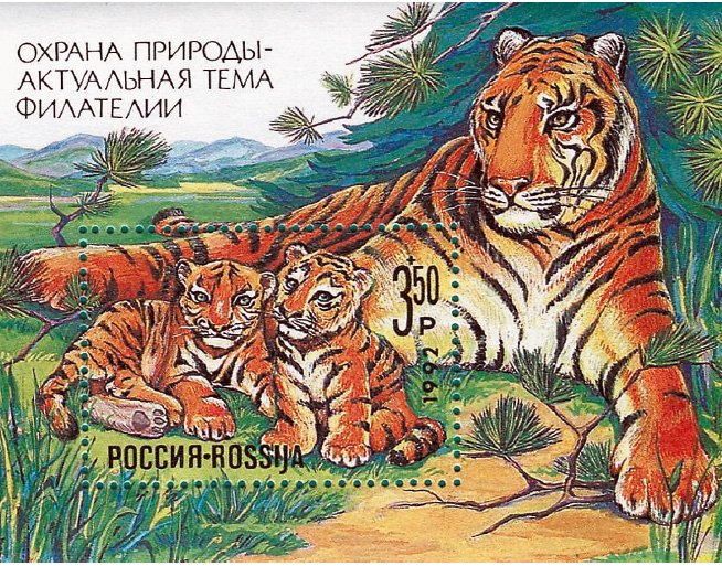 Тигрица с двумя тигрятами, 1992 г. «Охрана природы – актуальная тема филателии»