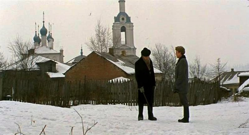 Кадр из х/ф «Укрощение огня», 1972 г. Встреча с Циолковским в Калуге