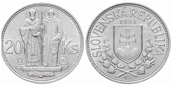 "Словакия. 20 крон 1941 года ""Кирилл и Мефодий"""