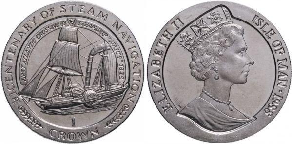 Остров Мэн. 1 крона 1988 года. Пароход «Сириус»