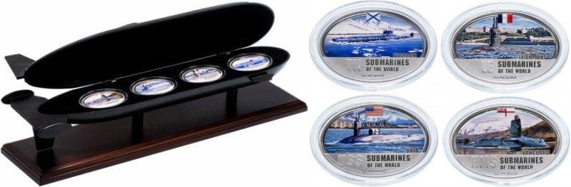 Фиджи. Набор серии монет «подводные лодки мира» в футляре. 2010 год