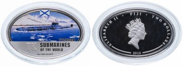 Фиджи. 2 доллара 2010 года. Тяжёлый ракетный подводный крейсер «Тайфун»