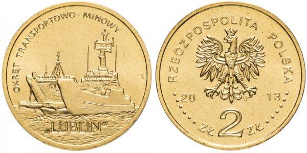Польша. 2 злотых 2013 года. Военно-транспортный корабль «Люблин»