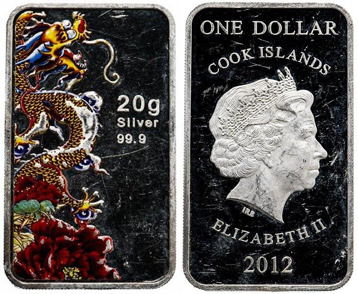 Монета Островов Кука прямоугольной формы
