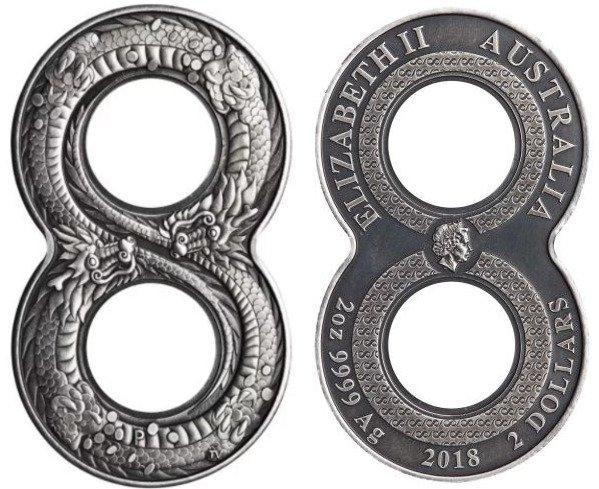 Монета Австралии в форме восьмёрки