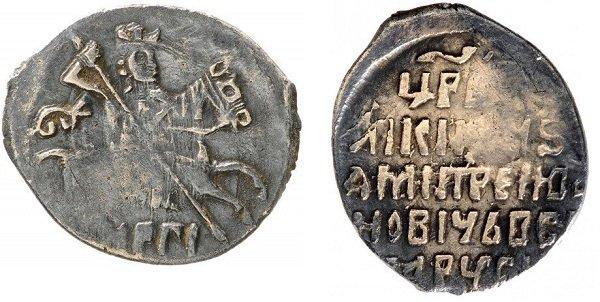 Датированная копейка Лжедмитрия I. НРГI (Н – знак Новгородского монетного двора, РГI – 113 год, то есть 7113 год от Сотворения мира (1605 год от Р.Х.)