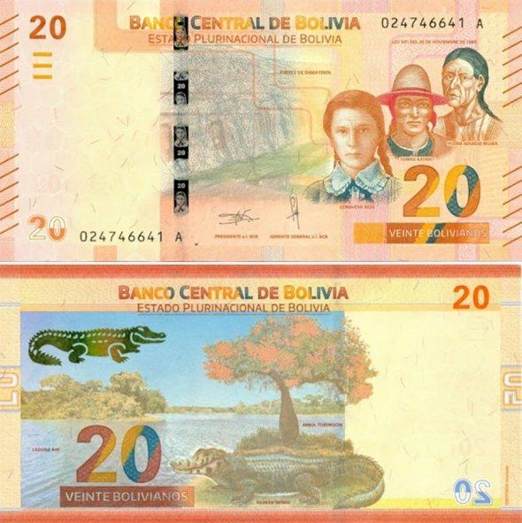 20 боливиано 2018 года, Боливия