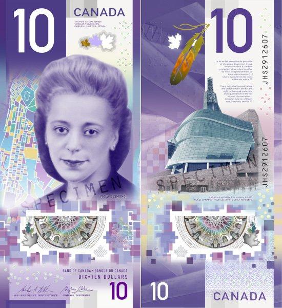 10 долларов 2018 года, Канада