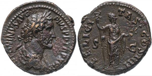 Монета из бронзы. Асс Римской Империи. Антонин Пий