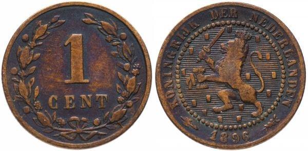 Монета из бронзы. 1 цент, Нидерланды, 1896 год