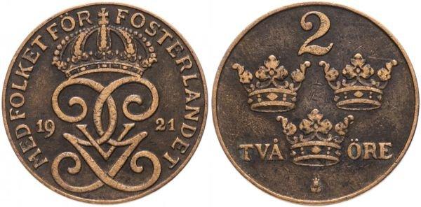 Монета из бронзы. 1 эре, Швеция, 1921 год