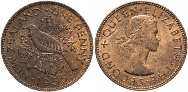 Монета из бронзы. 1 пенни, Новая Зеландия, 1955 год