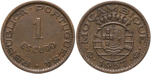 Монета из бронзы. 1 эскудо, Мозамбик, 1957 год