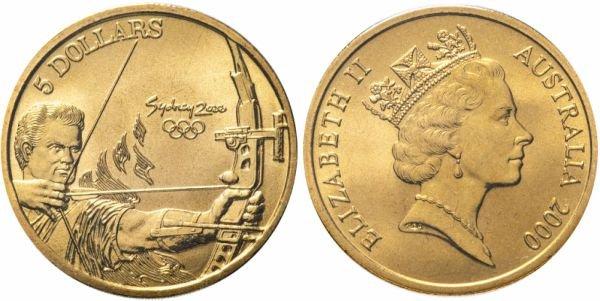 Монета из бронзы. 5 долларов, Австралия, 2000 год. Олимпийские игры в Сиднее, стрельба из лука