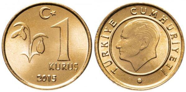 Монета из бронзы. 1 куруш, Турция, 2015 год